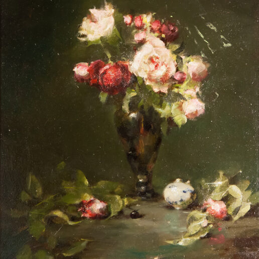 Pink Roses in Green Glass